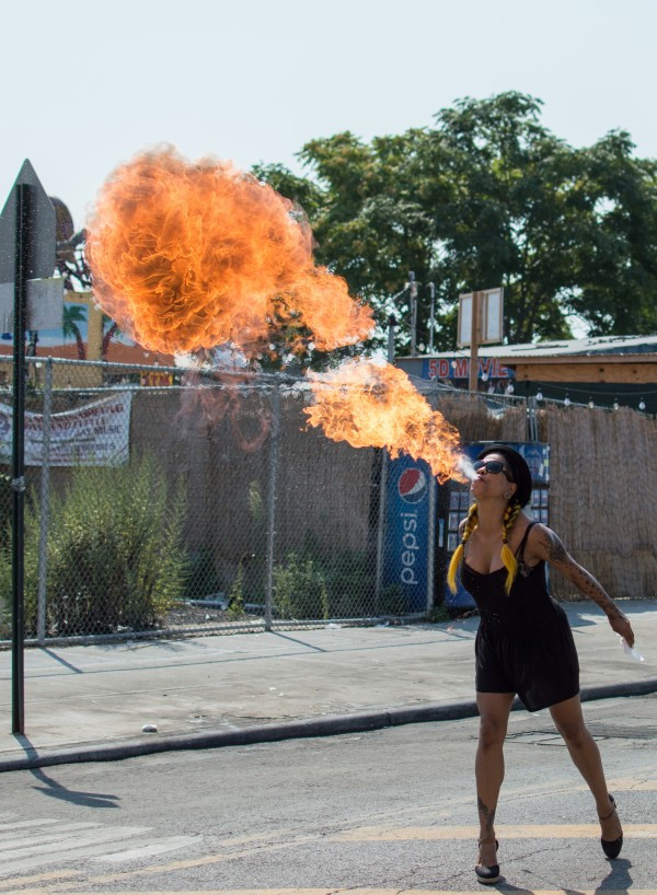 Learn to eat fire at Coney Island Sideshow School (photo by Eliza Rinn)