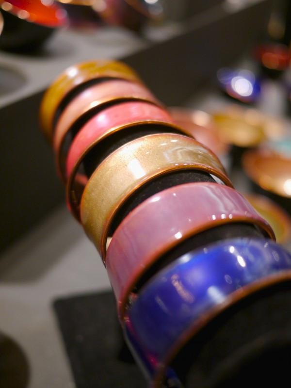 Copper Enamel Cuffs by Kiln Design Studio