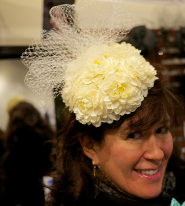 I am ready for the Easter Parade in this adorable flowery hat by Dora Marra!