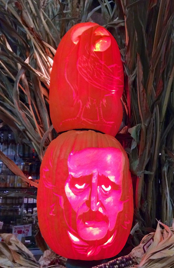 Edgar Allen Pumpkin and his Raven friend at Chelsea Market