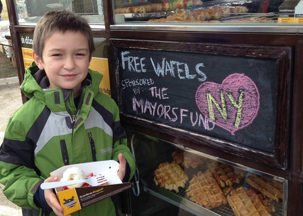 This sweet boy enjoyed a wafel from Wafels & Dinges Truck at the Hurricane Sandy FEMA Disaster Relief Center on Staten Island