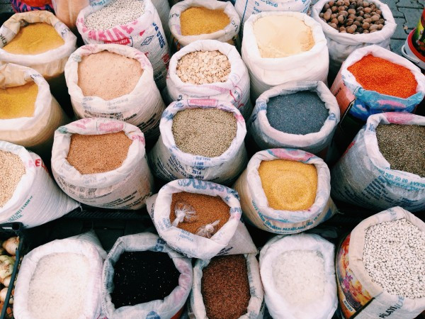 Colorful rice, beans and other legumes in the Fethiye Market