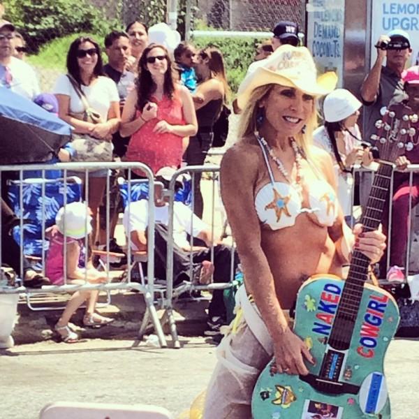Naked Cowgirl at the Mermaid Parade