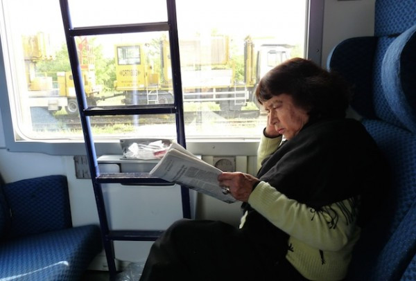 Mom after a very long train ride from Paris to Venice