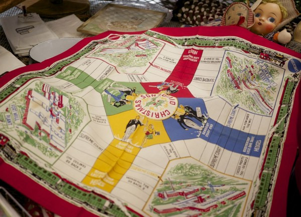 A tea towel that is also a holiday board game!