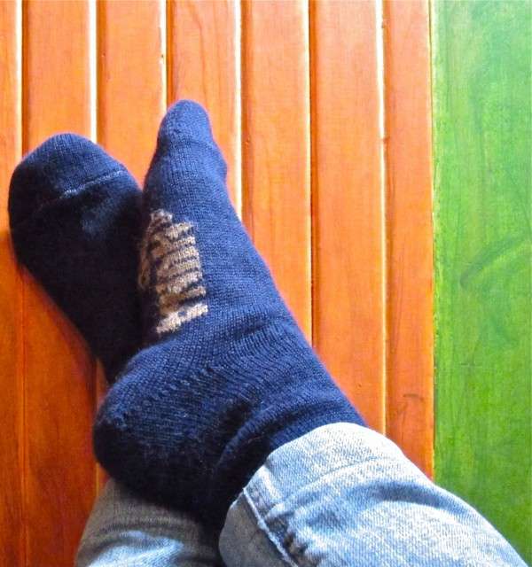 Cynthia Wears Her Alpaca Socks By Nuna (Photo by Ed Lefkowicz)