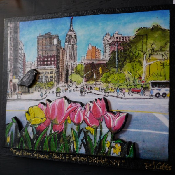 Tulips near Madison Square Park - a collage by PJ Cobbs