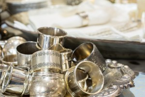 SIlver napkin rings - at abcmkt (Photo by Ed Lefkowicz)