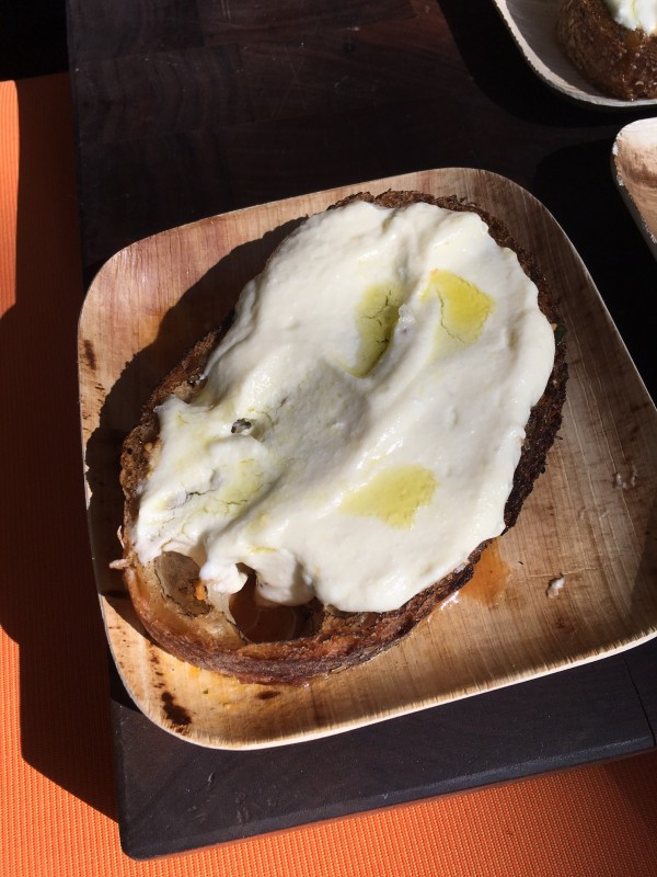 Fresh Fig Bread and Ricotta Cheese Drizzled with Olive Oil from Eataly!