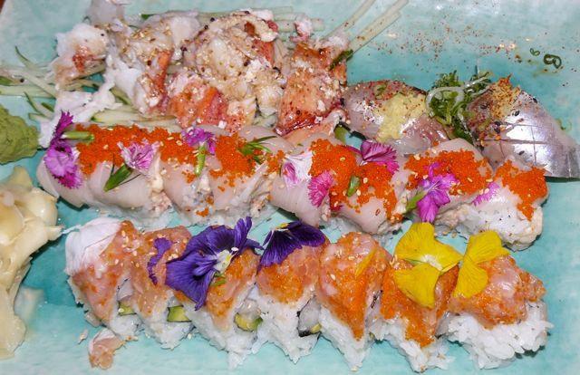 Sushi with Nasturtiums at Sakura Hana, West Village