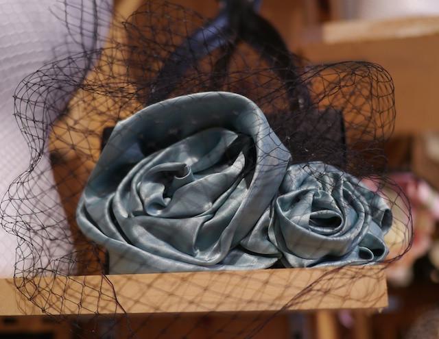 Katherine Carey Millinery Elegant Gray/Blue Roses