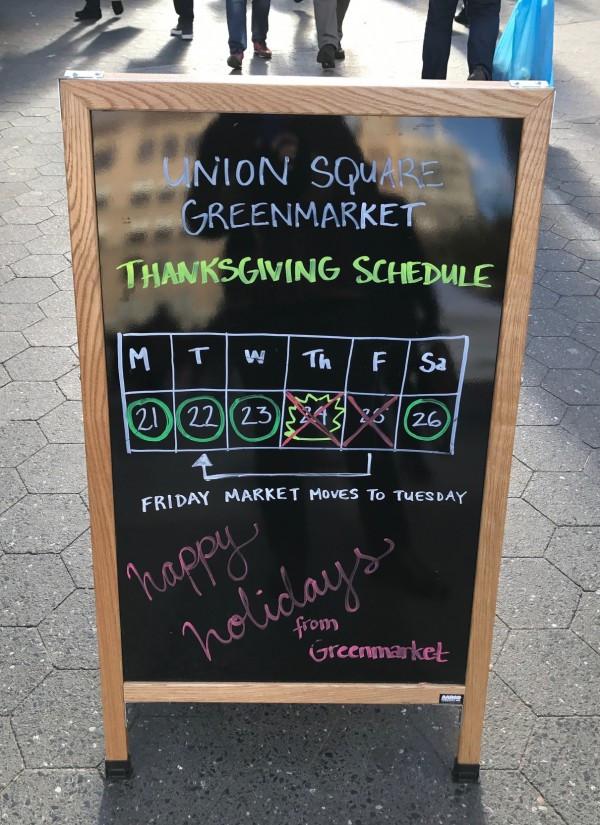Greenmarket Thanksgiving 2016 Schedule