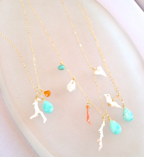 Cameo Sisters' Delicate Turquoise, Coral and Shell Necklace
