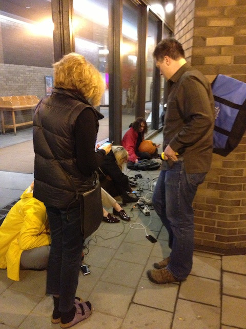 Remember this? Charging our phones at an outdoor outlet after the hurricane