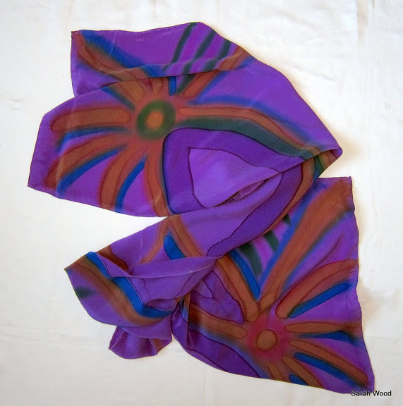 Sarah Wood Purple Handpainted Silk Scarf