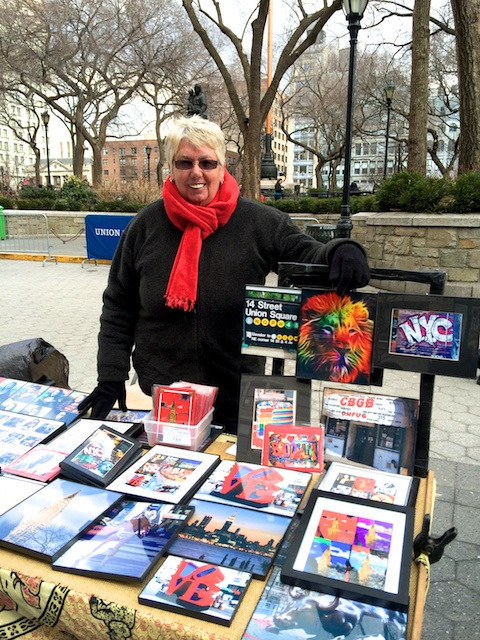 Susan sells her beautifulphotographs in Union Square