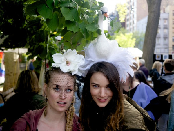 Two Gorgeous Fans of Dora Marra Headdress NYC At Crafts On Columbus