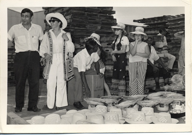 With Mom at a market in the port of Guayaquil, Ecuador