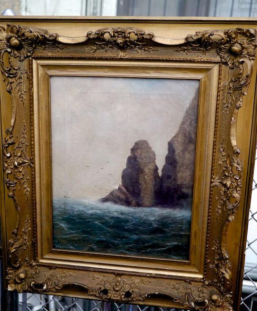 Painting of a rocky crag on the ocean shore