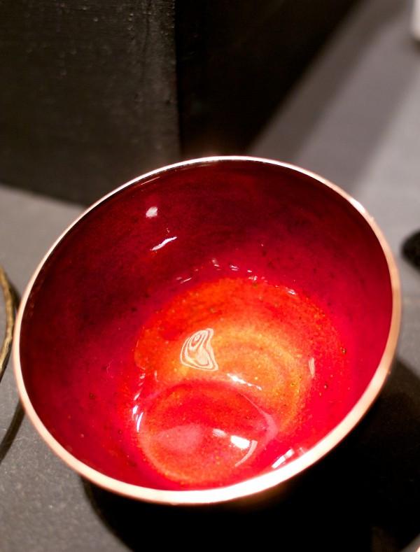Bright red copper enamel bowl by Kiln Design Studio