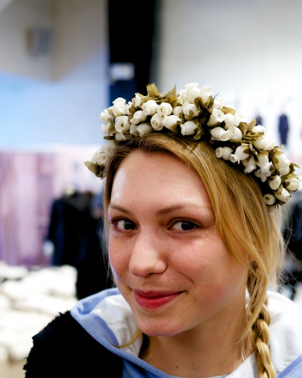 Nadia is visiting from France! She is wearing a lovely rosebud headband by Dora Marra