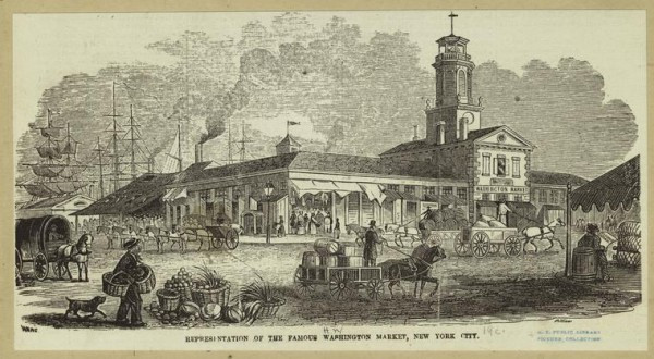 Art and Picture Collection, The New York Public Library. Representation of the famous Washington Market, New York City. Retrieved from http://digitalcollections.nypl.org/items/510d47e0-d822-a3d9-e040-e00a18064a99
