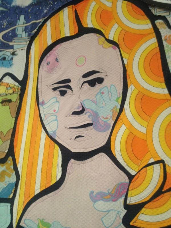 Golly's fabric mosaic Mona LIsa