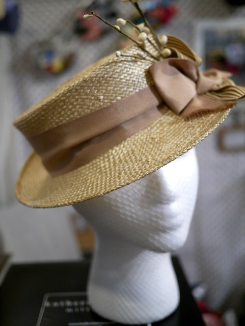 Katherine Carey Millinery Brown Bow Boater