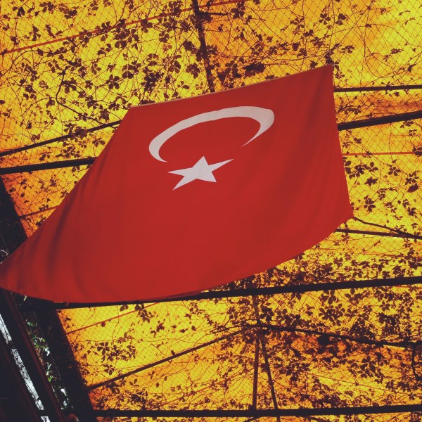 The Flag of Turkey hangs in the Fethiye Market