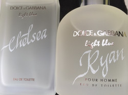 Hand engraving on frosted bottles