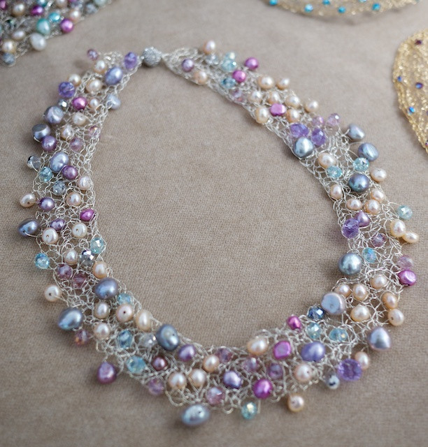 Juli Ra Design - Blue and Pink Pearl Crocheted Wire Necklace