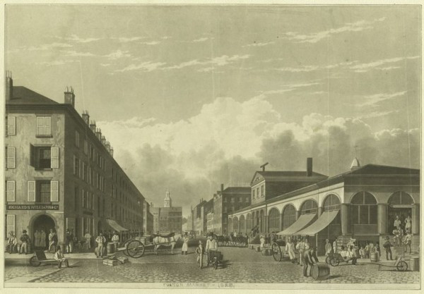 The Miriam and Ira D. Wallach Division of Art, Prints and Photographs: Print Collection, The New York Public Library. (1828). Fulton St. & Market. Retrieved from http://digitalcollections.nypl.org/items/510d47da-2820-a3d9-e040-e00a18064a99