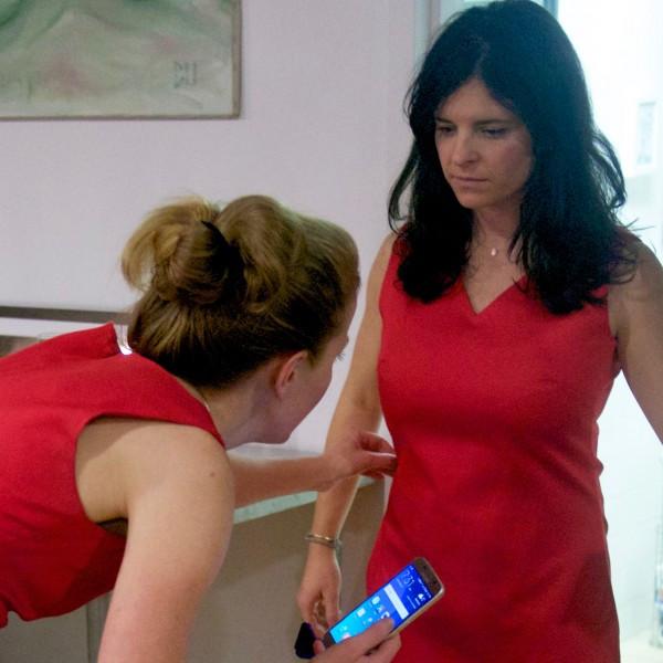 Maja takes Lauren's dress measurements