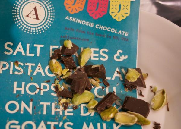 Askinosie's Dark Milk Chocolate + Ancho Chile & Pistachio CollaBARation™ Bar