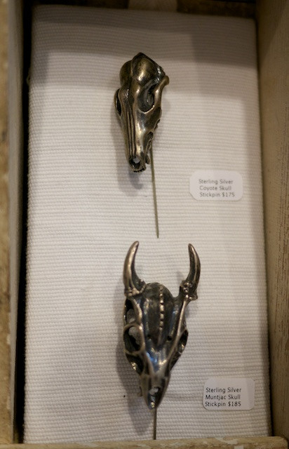 Father Panik Miniature Coyote and Muntjac Skull Stick Pins - Great on a hat, right?