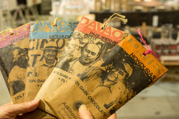 Actual cacao farmers appear on each bar of Askinosie Chocolate (photo by Ed Lefkowicz)