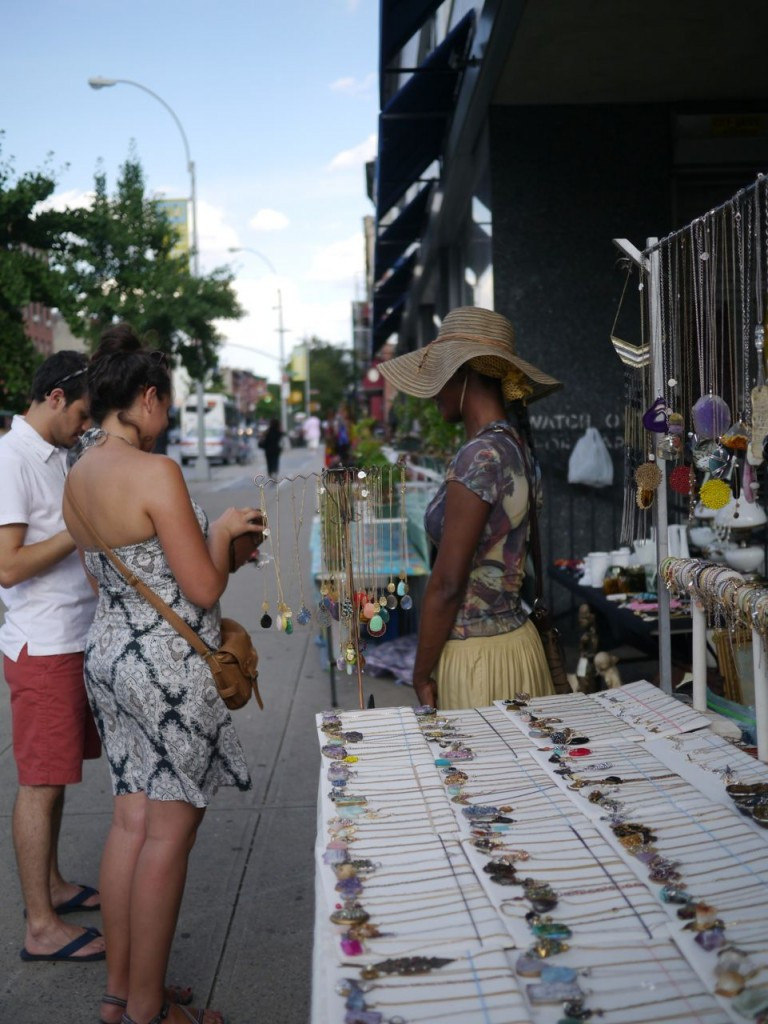 Jewelry Designer Edline Talking with Customers at the Fulton Flea