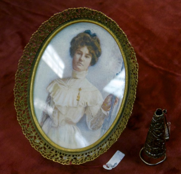 Antique framed portrait and bud pin from Interesting Old Things at the East 67th Street Flea on Saturdays and the Greenflea on Sundays
