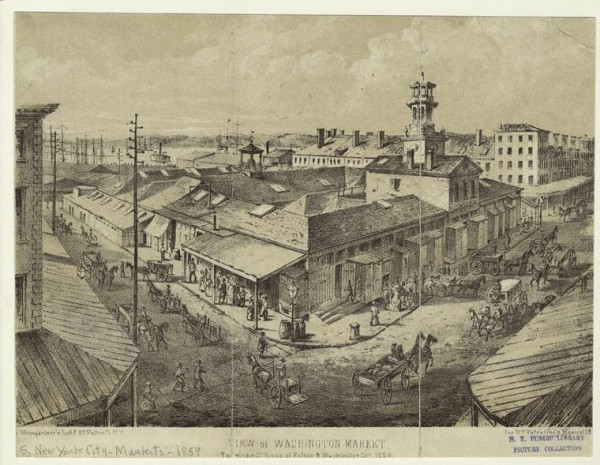 Art and Picture Collection, The New York Public Library. View Of Washington Market, From The S.E. Cor. Of Fulton & Washington Sts., 1859. Retrieved from http://digitalcollections.nypl.org/items/510d47e0-d826-a3d9-e040-e00a18064a99