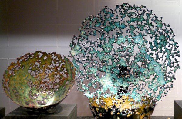 """These large copper enamel bowls and platter are made with a process called """"disintegration,"""" by Kiln Design Studio"""