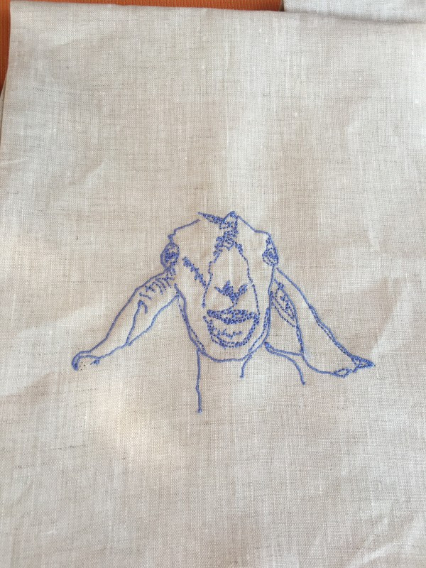 This sweet embroidered goat linen towis by Big Picture Farm, which also makes yummy goats milk caramels!