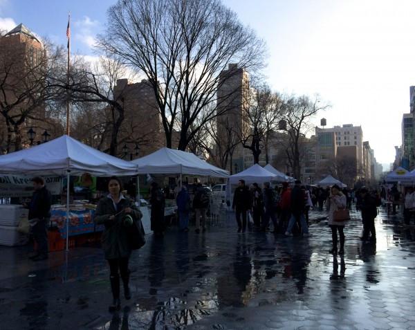 Union Square in the Wintery Rain