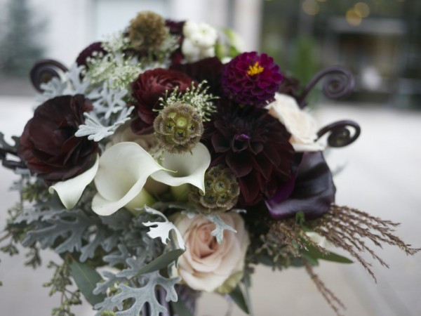 Fiddlehead Ferns of a different variety in a wedding bouquet (by Dragonfly Event)