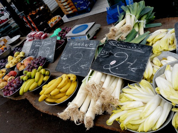 Local leeks and endives, and fresh fruit from North Africa