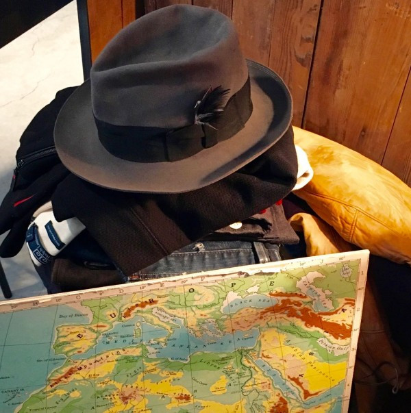 Vintage fedora with a map of Europe and Africa