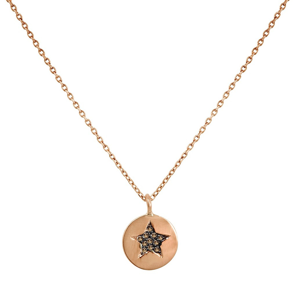 Atlantis Jewelry's Rose Gold Star Necklace with pavé champagne diamonds set in rhodium.