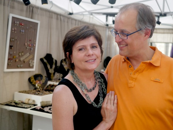 Jewelry Designer Cristina Peixoto and her husband John Wallner at Crafts on Columbus