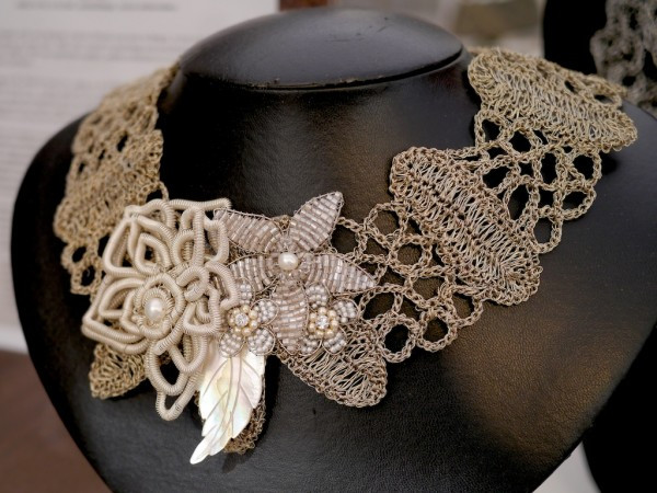 Crocheted Floral Necklace by Cristina Peixoto