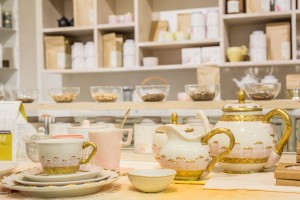 Delicate pink antique tea set at abcmkt (photo by Ed Lefkowicz)