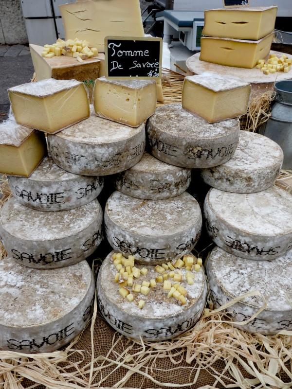 Tomme de Savoie at the Saint Antoine Market in Lyon, France